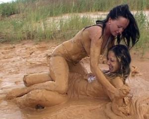 Mud wrestling female ass not